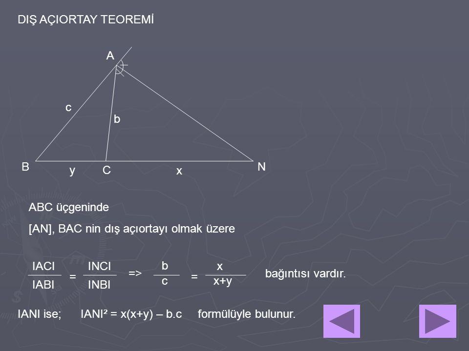 DIŞ AÇIORTAY TEOREMİ A. c. b. B. N. y. C. x. ABC üçgeninde. [AN], BAC nin dış açıortayı olmak üzere.